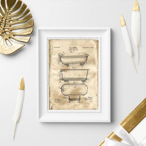 Plakat vintage z wanną szklaną - schemat budowy