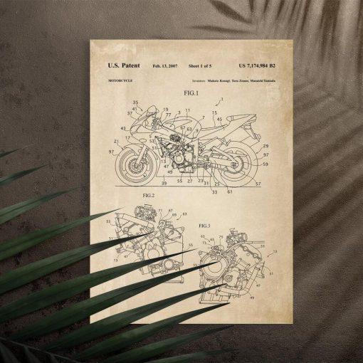 Plakat w sepii świadectwo produkcji motocykla