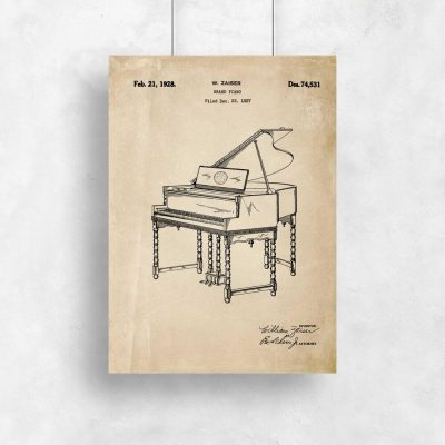 Plakat w sepii z pianinem