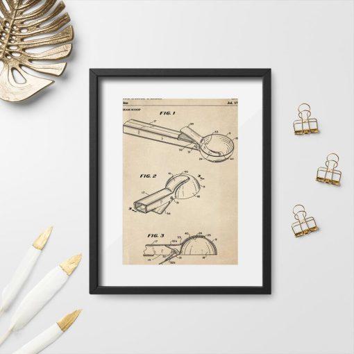 Plakat w sepii z rysunkiem patentowym na łyżkę do lodów