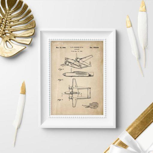 Plakat w sepii z samolotem dwukadłubowym
