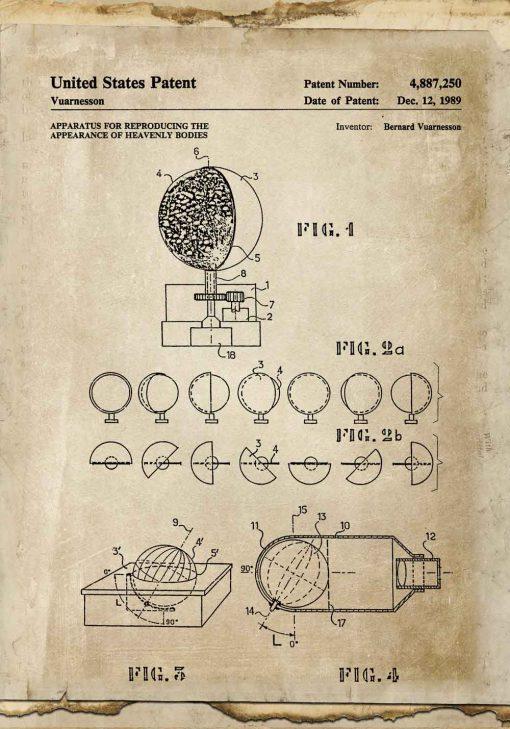 Plakat wynalazek z 1989r. urządzenie - droga ciał niebieskich