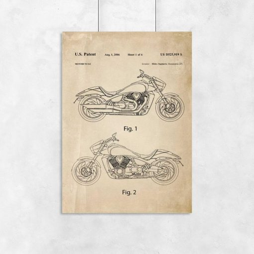 Plakat z certyfikatem budowy motocykla