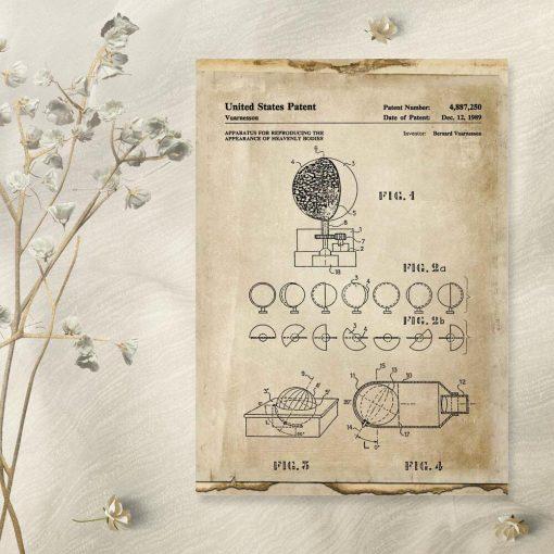 Plakat z certyfikatem na urządzenie atsronomiczne