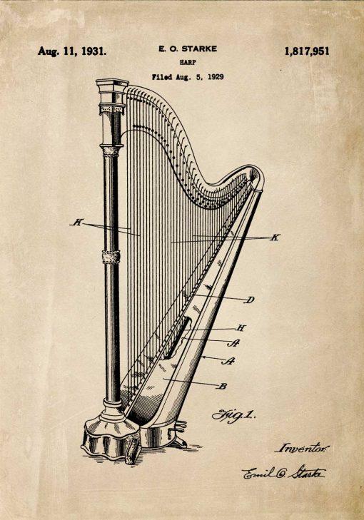 Plakat z harfą - patent 1931r.
