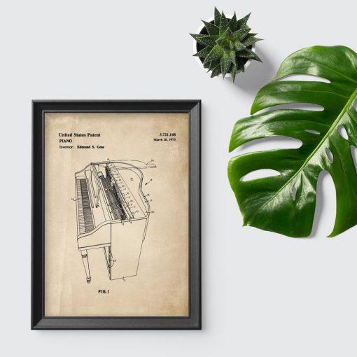 Plakat z koncepcja budowy fortepianu