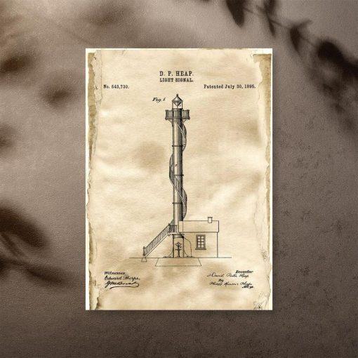 Plakat z licencja na budowę latarni morskiej