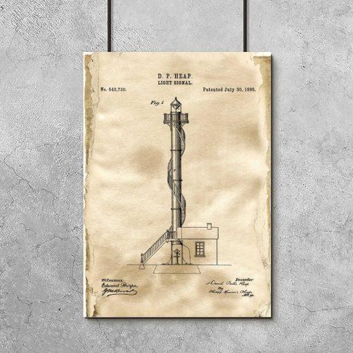 Plakat z motywem latarni morskiej - patent na budowę