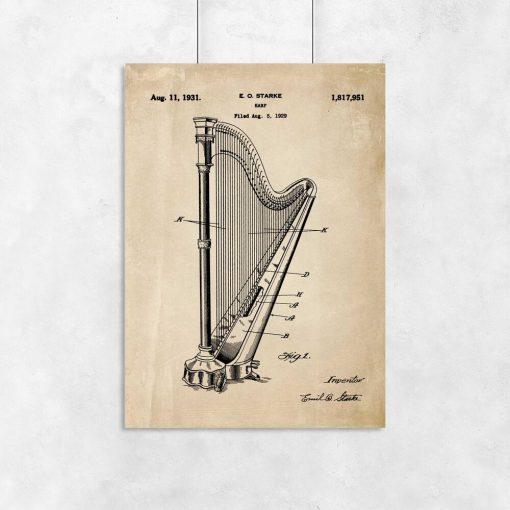 Plakat z motywem patentu na harfę