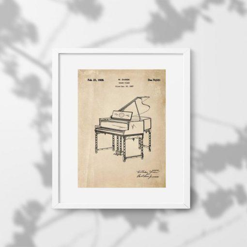 Plakat z patentem 1928r. - pianino