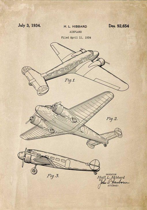 Plakat z patentem na aeroplan