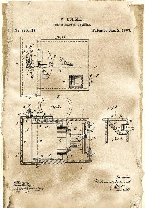 Plakat z patentem na aparat fotograficzny