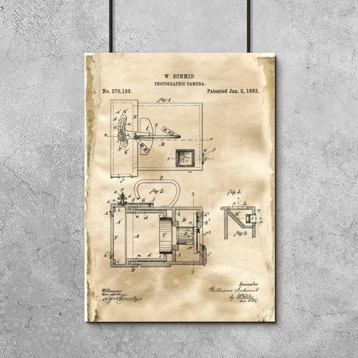 Plakat z patentem na aparat fotograficzny do gabinetu