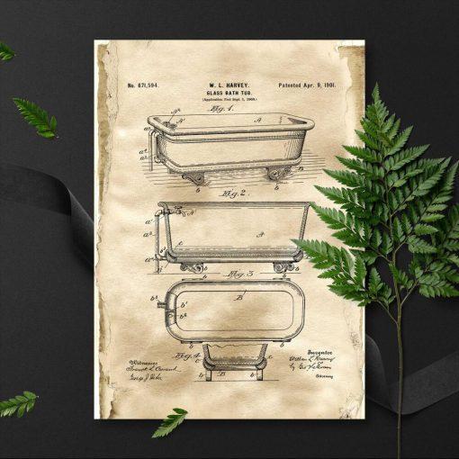 Plakat z patentem na budowę szklanej wanny