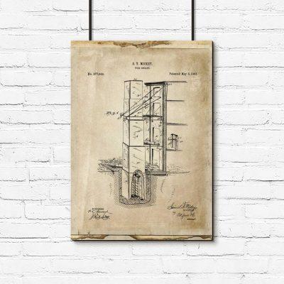 Plakat z patentem na budowlę przeciwpożarową