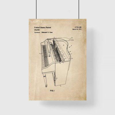 Plakat z patentem na instrument muzyczny