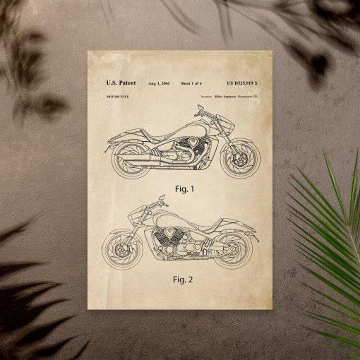 Plakat z patentem na japoński motocykl z 2006r.