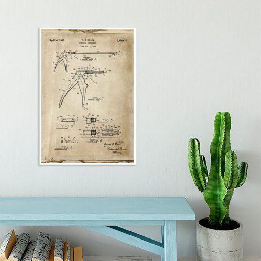 Plakat z patentem na kleszcze stomatologiczne dla studenta
