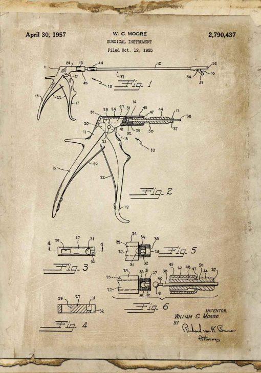 Plakat z patentem na kleszcze stomatologiczne do poczekalni