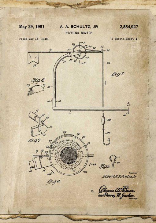 Plakat z patentem na kołowrotek do wędki