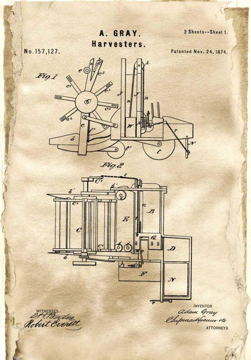 Plakat z patentem na kombajn