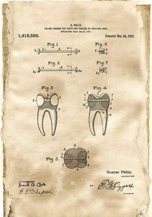 Plakat z patentem na kotwę do zęba