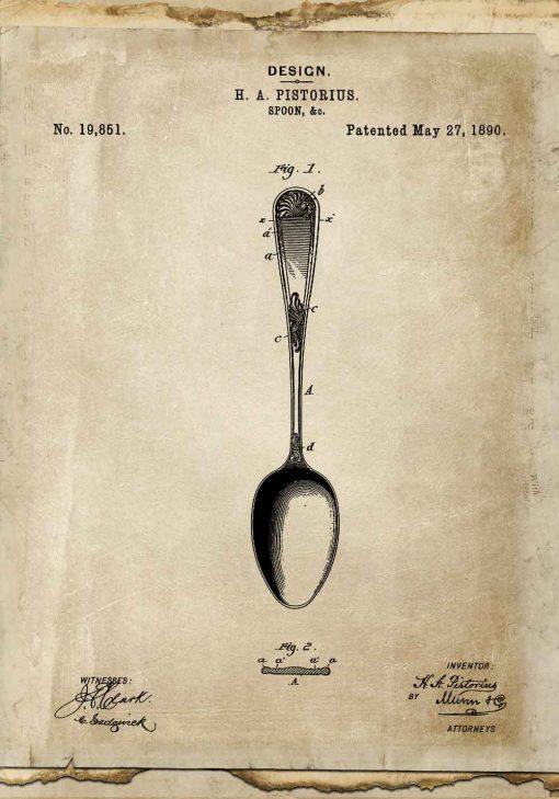 Plakat z patentem na łyżkę do salonu
