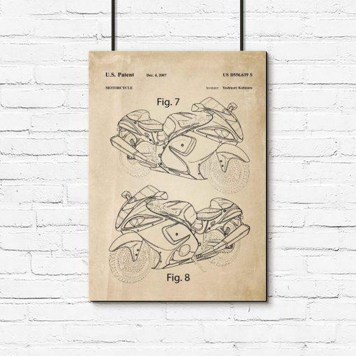 Plakat z patentem na motocykl do garażu