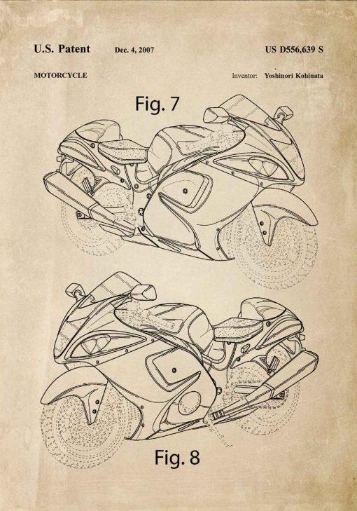 Plakat z patentem na motocykl do warsztatu