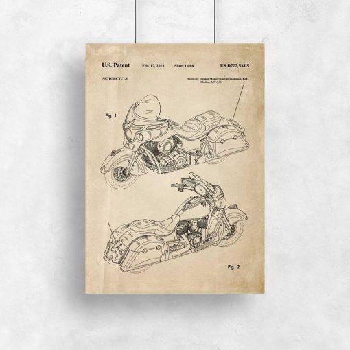 Plakat z patentem na motocykl z USA
