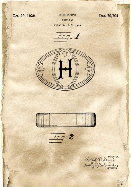 Plakat z patentem na mydełko w kostce