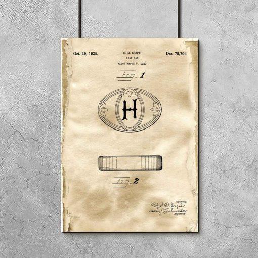 Plakat z patentem na mydełko w kostce do łazienki