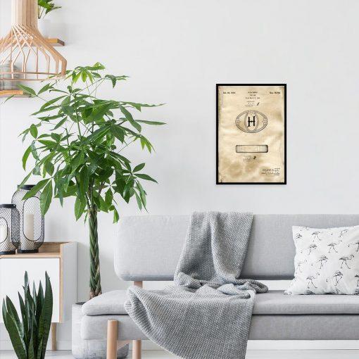 Plakat z patentem na mydełko w kostce do pokoju