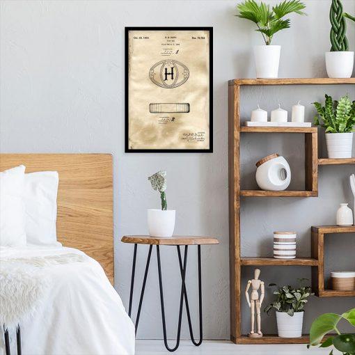 Plakat z patentem na mydełko w kostce do sypialni