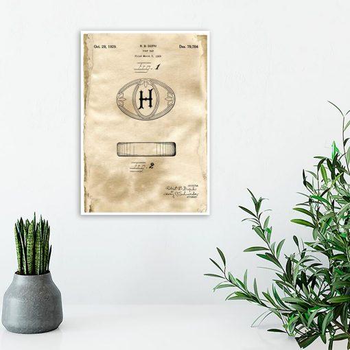 Plakat z patentem na mydełko w kostce do toalety