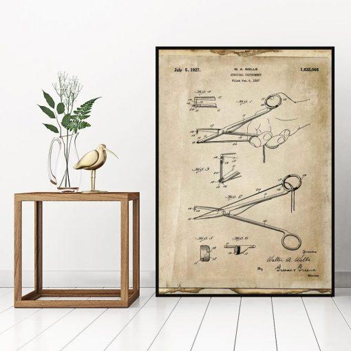 Plakat z patentem na narzędzie chirurgiczne do biura