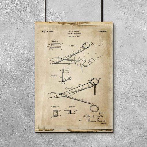 Plakat z patentem na narzędzie chirurgiczne do gabinetu lekarskiego