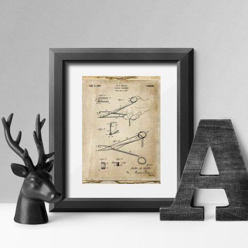 Plakat z patentem na narzędzie chirurgiczne do salonu