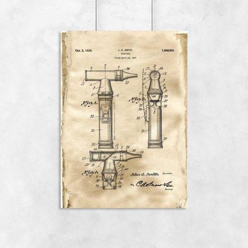 Plakat z patentem na otoskop dla lekarza
