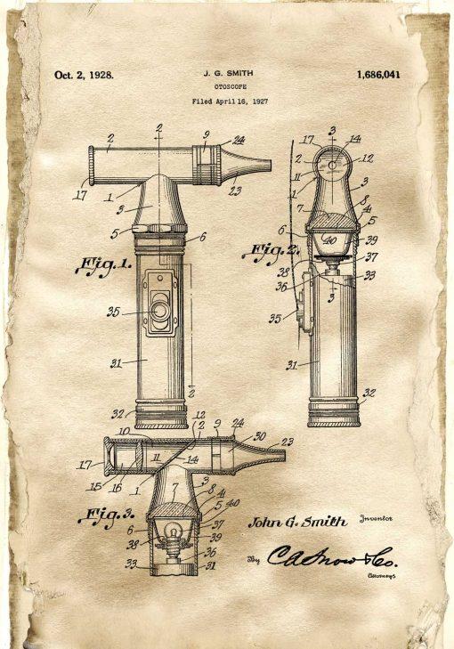Plakat z patentem na otoskop do sypialni