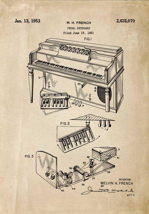 Plakat z patentem na pianino
