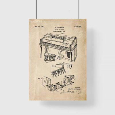 Plakat z patentem na pianino dla muzyka