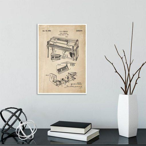 Plakat z patentem na pianino do gabinetu