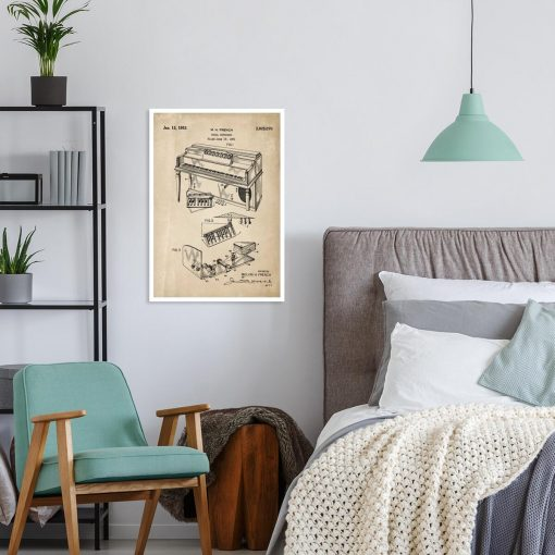 Plakat z patentem na pianino do sypialni