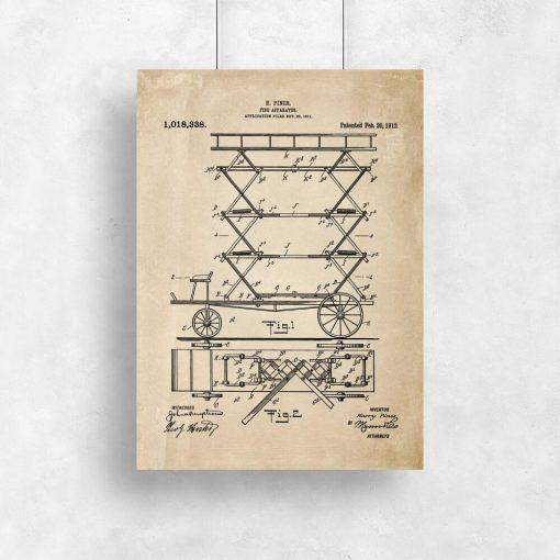 Plakat z patentem na pierwszy wóz strażacki