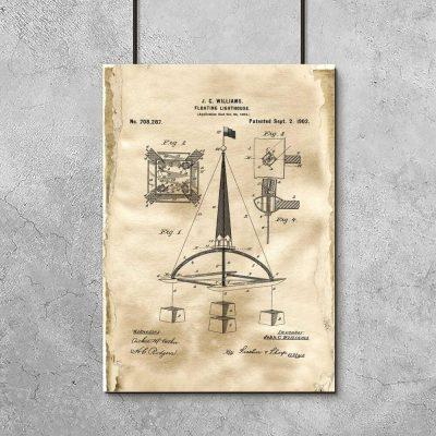 Plakat z patentem na pławę morską