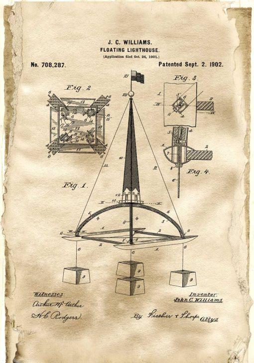 Plakat z patentem na pływającą boję morską