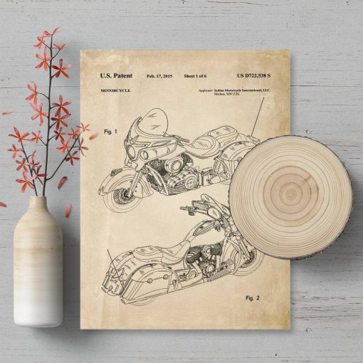 Plakat z patentem na produkcję motocykla - 2015r.
