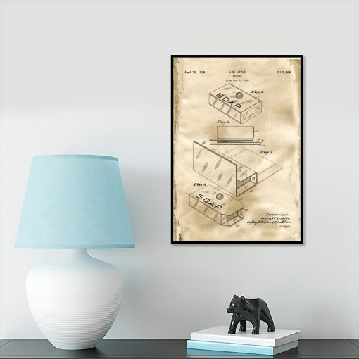 Plakat z patentem na pudełko do gabinetu