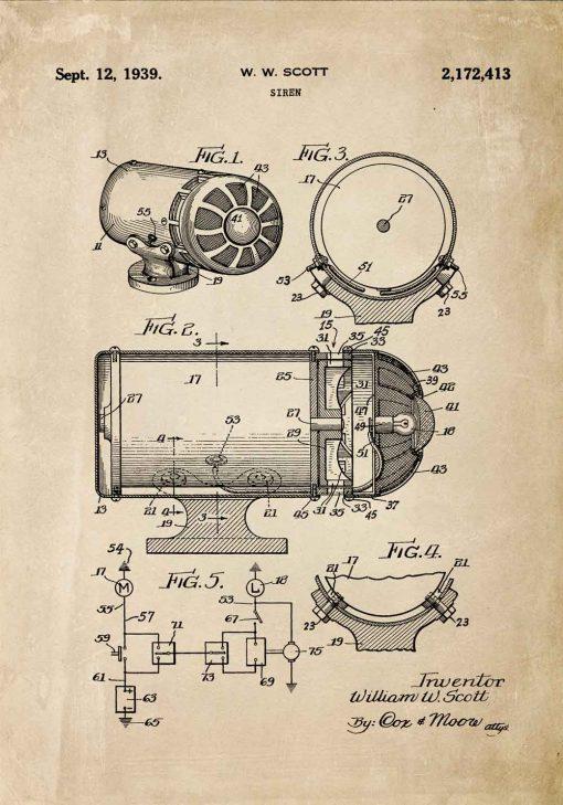 Plakat z patentem na syrenę dźwiękową